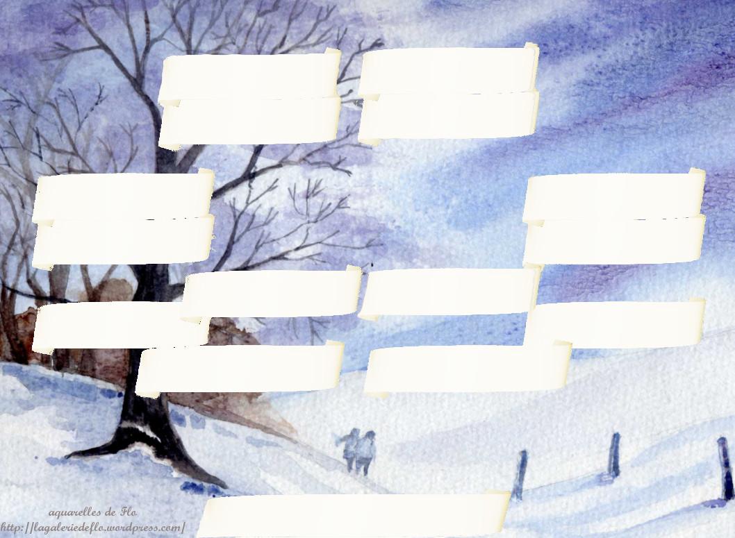 promenade hivernale , aquarelle de Flo